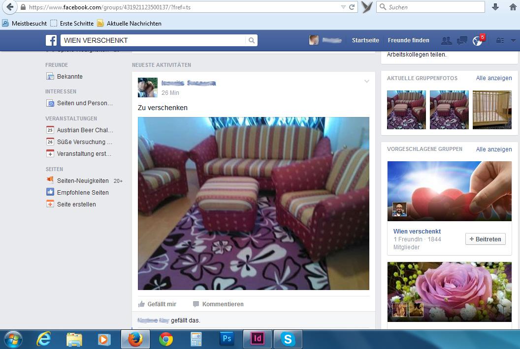 Screenshot der Facebook-Gruppe Wien verschenkt