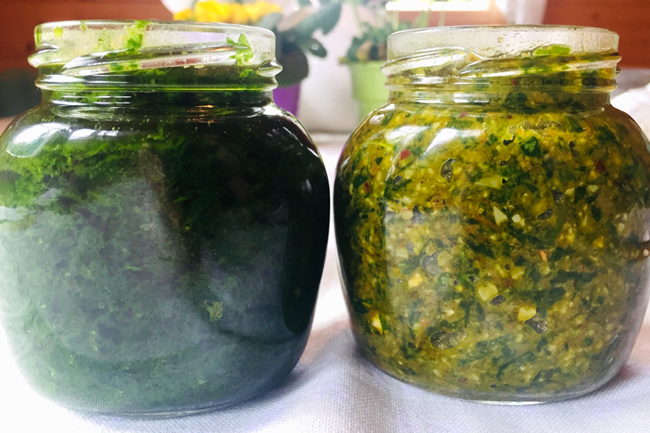 Foto: Brennnessel-Pesto und Bärlauch-Pesto, © wild-wuchs-natur